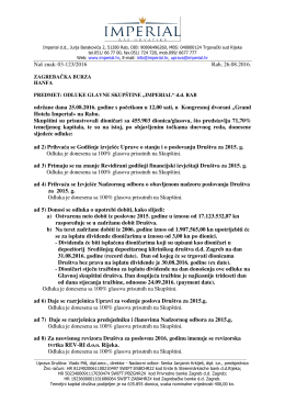 Odluke sa Glavne skupštine održane 25.08.2016.