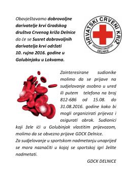 Obavještavamo dobrovoljne darivatelje krvi Gradskog društva