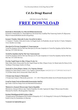 CD ZA DRUGI RAZRED - Free Book