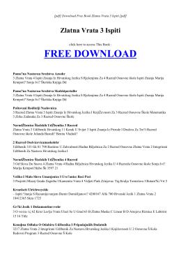 ZLATNA VRATA 3 ISPITI - Free PDF eBook