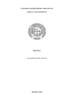 ročenka - Fakulta managementu UK