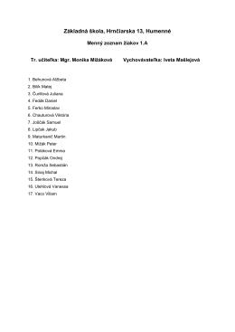 Zoznam žiakov 1.A - ZŠ Hrnčiarska 13, Humenné