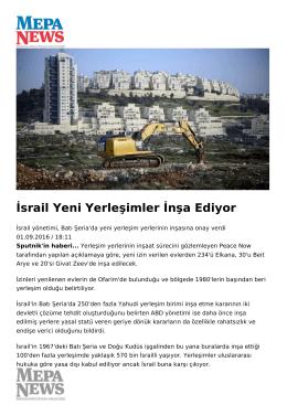 İsrail Yeni Yerleşimler İnşa Ediyor