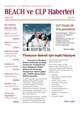 REACH ve CLP Haberleri