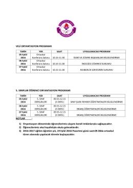 5.sınıf oryantasyon programı 2016-2017