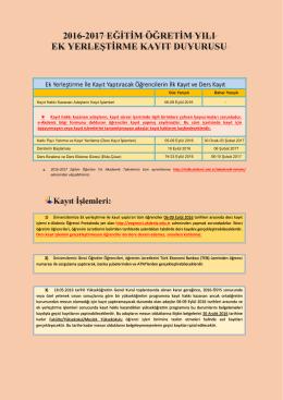 Ek Yerleştirme Kayıt - Akdeniz Üniversitesi