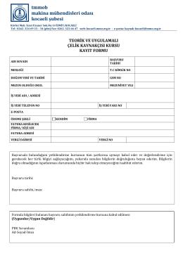 ek-2 eğitim başvuru formu - TMMOB Makina Mühendisleri Odası