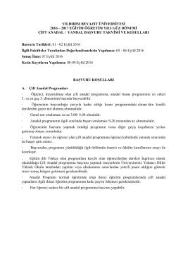 2016-2017 Eğitim-Öğretim Yılı Güz Dönemi Çift Anadal /Yan Dal