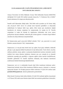 Sempozyum Duyurusu - Trakya Üniversitesi