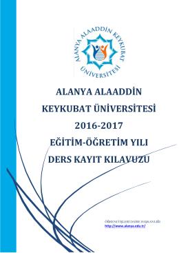 Ders kayıt Kılavuzu - Alanya Alaaddin Keykubat Üniversitesi