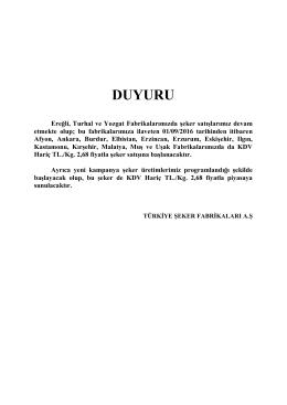 duyuru - Türkiye Şeker Fabrikaları A.Ş.