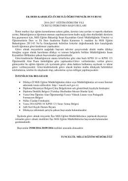 ek ders karşılığı (ücretli) öğretmenlik duyurusu 2016