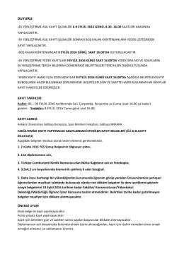 duyuru - Spor Bilimleri Fakültesi