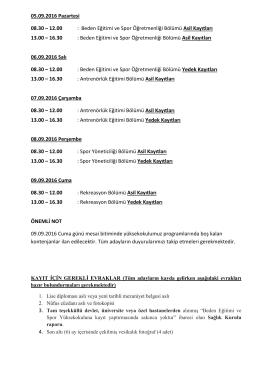 12.00 : Beden Eğitimi ve Spor Öğretmenliği Bölümü Asil Kayıtları