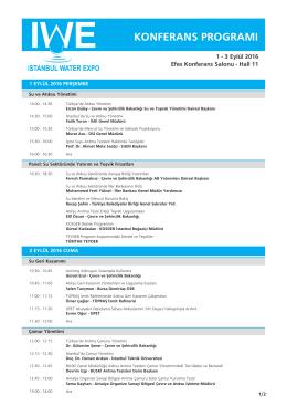 konferans programı - IWE Istanbul Water Expo