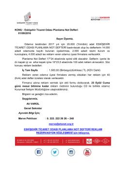 KONU : Eskişehir Ticaret Odası Planlama Not Defteri 01/09/2016