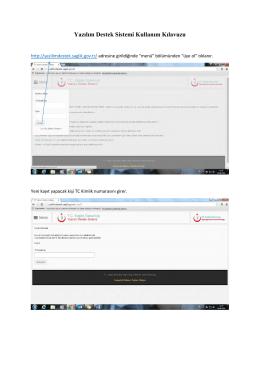 Yazılım Destek Sistemi Kullanım Kılavuzu