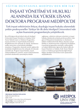 EYL 6 İnşaat Yönetimi ve Hukuku Lisansüstü Programları Tanıtım