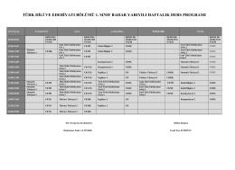 türk dili ve edebiyatı bölümü 1. sınıf bahar yarıyılı haftalık ders
