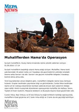Muhaliflerden Hama`da Operasyon