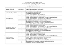 Bölüm / Program Kontenjan Kabul Edilen Bölümler / Programlar 1