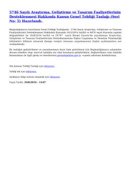 5746 Sayılı Araştırma, Geliştirme ve Tasarım Faaliyetlerinin