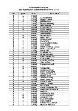 2. 3. 4. sınıf listesi sabah / öğle (2016 / 2017 eğitim öğretim yılı)