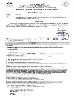 Teknik Şartname - İzmir Atatürk Eğitim ve Araştırma Hastanesi