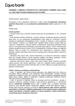 Oznámení o změně firemních obchodních podmínek Equa bank a.s.