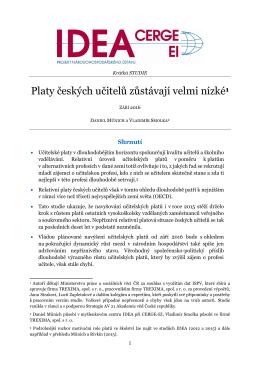 Platy českých učitelů zůstávají velmi nízké1 - IDEA - cerge-ei