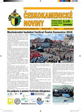 Českokamenické noviny VII/2016