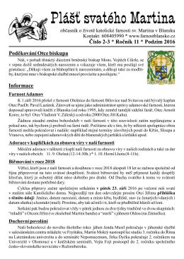 časopisu Plášť - Farnost Blansko