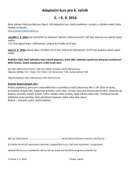 Adaptační kurz pro 6. ročník 5. – 6. 9. 2016
