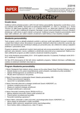 Newsletter - Institut personalistiky