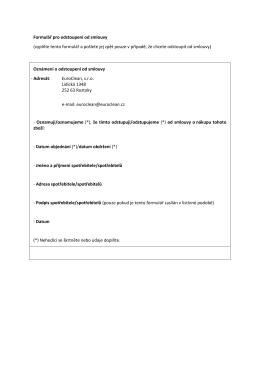 Vzorový formulář pro odstoupení od smlouvy