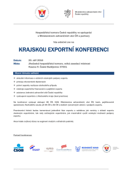 krajskou exportní konferenci - Jihočeská hospodářská komora