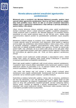 Novela zákona zabrání zneužívání agenturního zaměstnávání