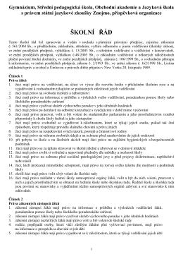 školní řád - GPOA Znojmo