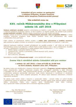 XXV. ročník Mlékárenského dne v Přibyslavi sobota 10. září 2016