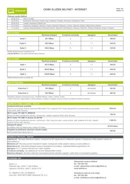Ceník služeb platný dle lokalit od 20. 9. 2016