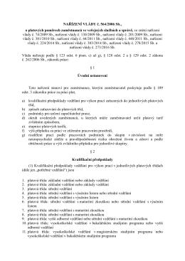 NAŘÍZENÍ VLÁDY č. 564/2006 Sb., o platových poměrech