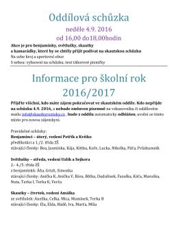 Oddílová schůzka Informace pro školní rok 2016/2017