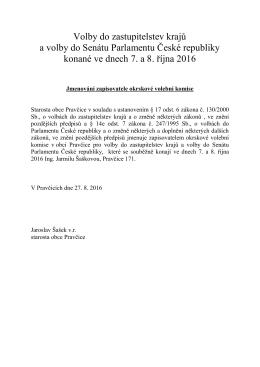 Jmenování zapisovatele okrskové volební komise