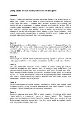Etický kodex člena České společnosti ornitologické