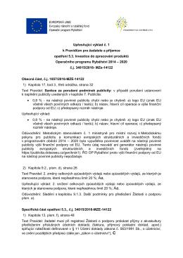 Upřesňující výklad č. 1 k Pravidlům pro žadatele a příjemce opatření