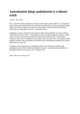 Informace z Ministerstva financí ČR - autentizační údaje podnikatele