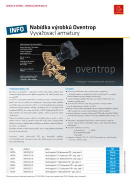 Nabídka výrobků Oventrop Vyvažovací armatury