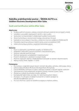 Nabídka praktikantské pozice – ŠKODA AUTO a.s.