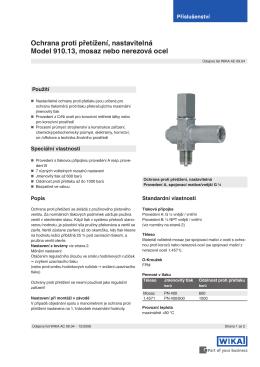 Ochrana proti přetížení, nastavitelná Model 910.13, mosaz nebo