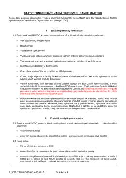 Statut funkcionáře – Jaro - Czech Dance Organization